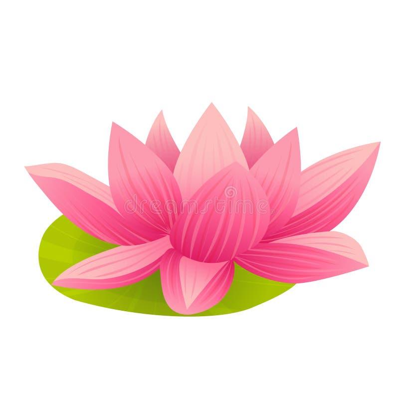 在动画片样式的桃红色莲花象 库存例证