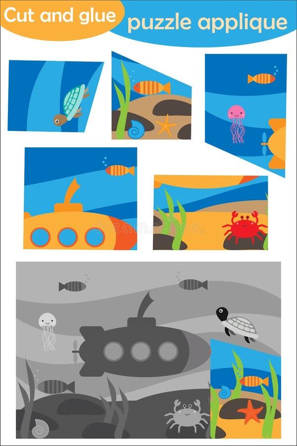 在动画片样式的水中,教育学龄前孩子的发展的难题比赛,创造的用途剪刀和胶浆 库存例证