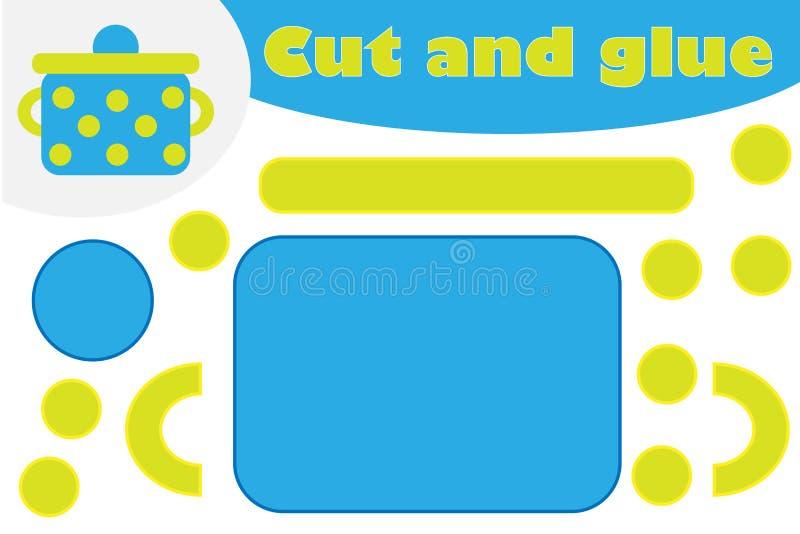 在动画片样式的罐,学龄前孩子的发展的教育比赛,创造的用途剪刀和胶浆 向量例证