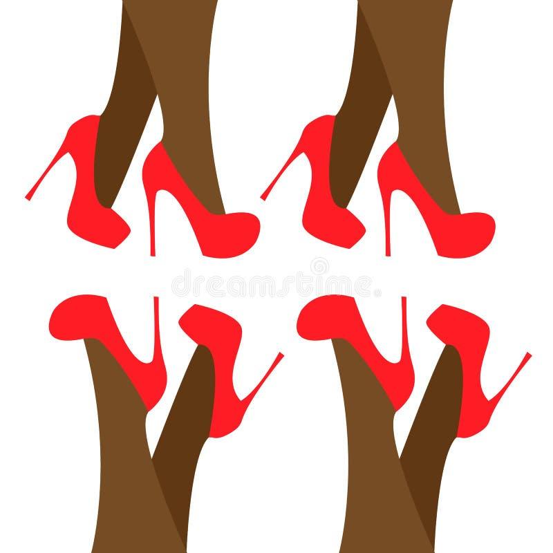 在动画片样式的腿黑暗的妇女鞋子在白色背景 传染媒介魅力时尚例证集合 i 库存例证