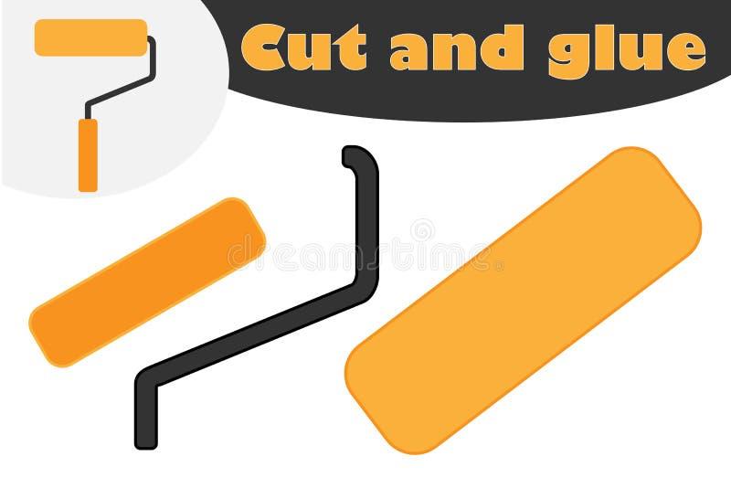 在动画片样式的路辗,学龄前孩子的发展的教育比赛,创造的用途剪刀和胶浆 向量例证