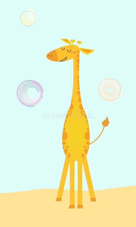 在动画片样式的逗人喜爱的长颈鹿与肥皂泡 向量例证