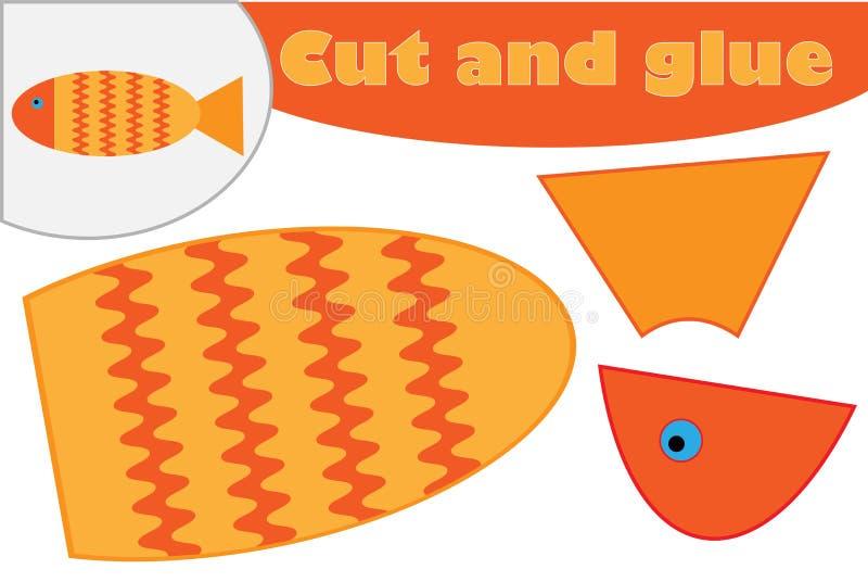 在动画片样式的鱼,学龄前孩子的发展的教育比赛,创造补花的用途剪刀和胶浆,裁减 库存例证
