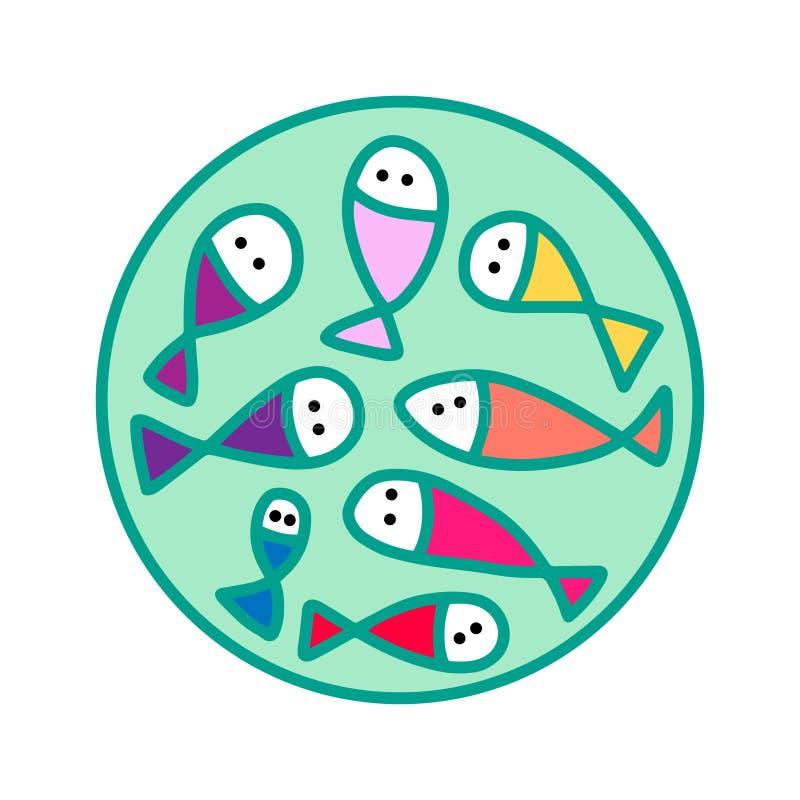 在动画片样式的鲜鱼手拉的略写法 海鲜商店市场饮食 库存例证