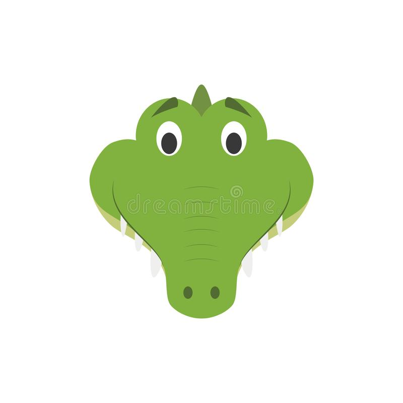 在动画片样式的鳄鱼面孔孩子的 向量例证