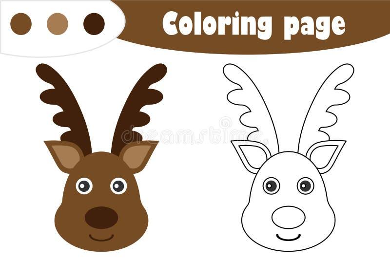 在动画片样式的鹿,圣诞节着色页,教育孩子的发展的,孩子学龄前活动,pri纸比赛 向量例证