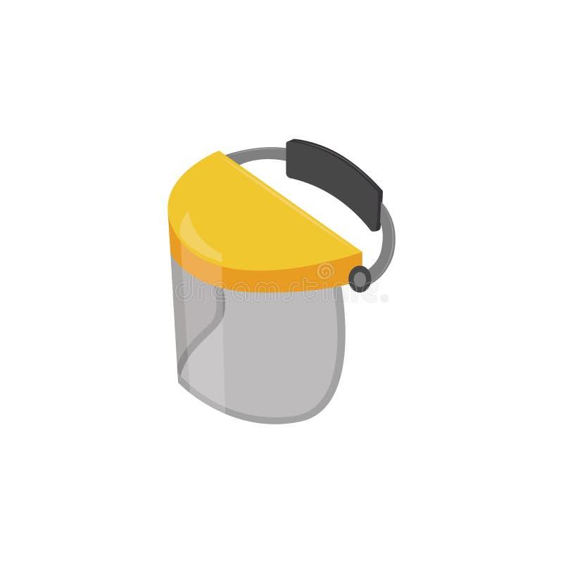 在动画片样式的黄色防护和安全面罩 库存例证