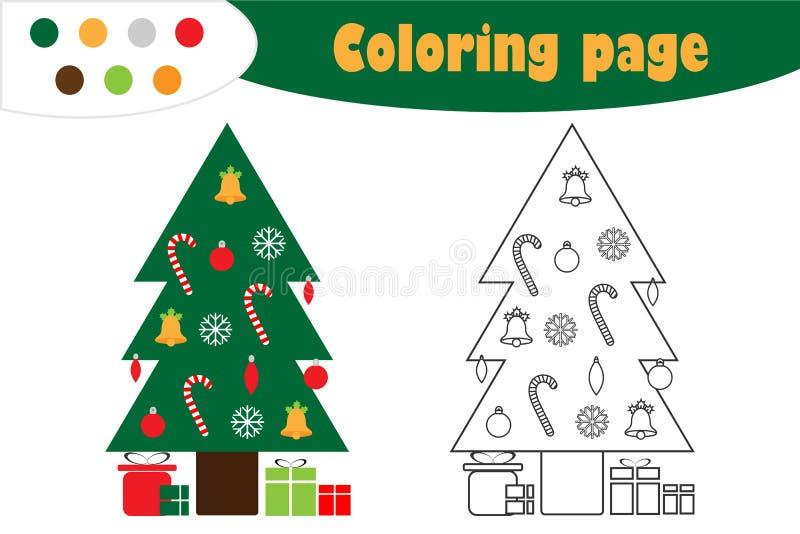 在动画片样式的Xmas树,圣诞节着色页,教育孩子的发展的,孩子学龄前活动纸比赛 向量例证
