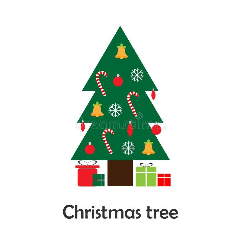 在动画片样式的Xmas树,孩子的,孩子的学龄前活动,传染媒介例证圣诞卡片 向量例证