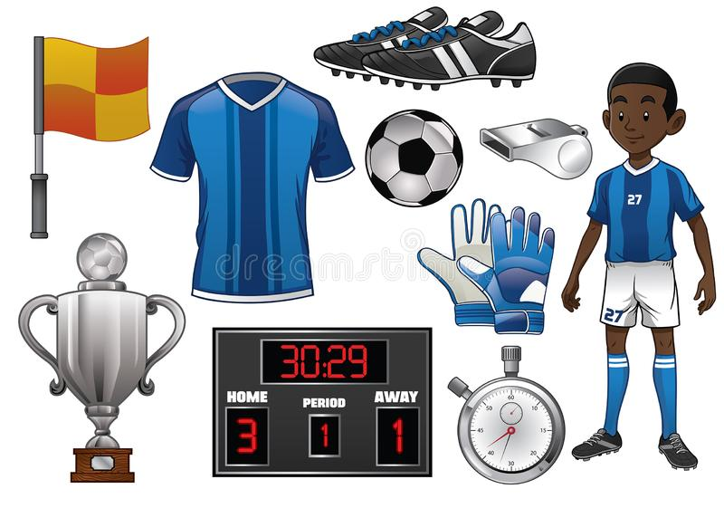 在动画片样式设置的足球对象 皇族释放例证