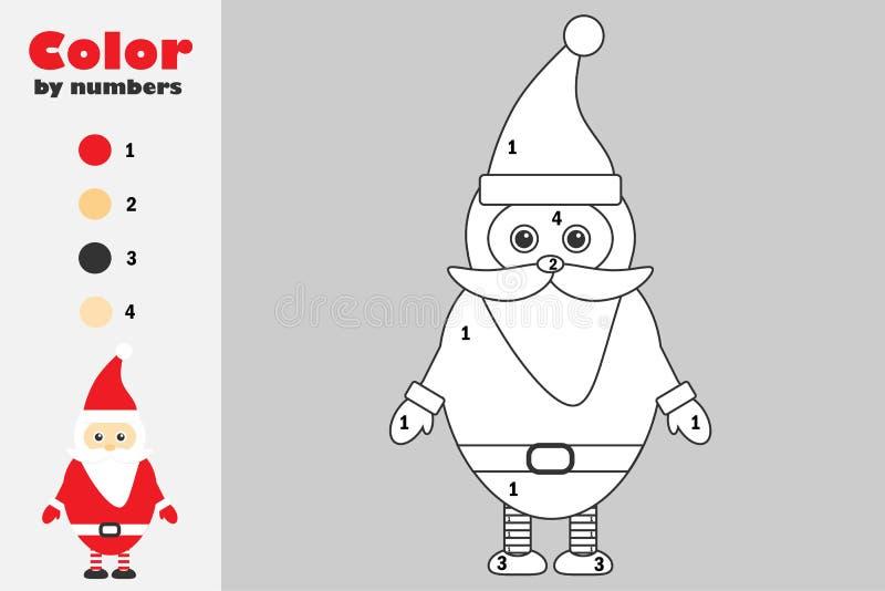 在动画片样式,由数字,圣诞节教育孩子的发展的,上色页,孩子纸比赛的颜色的圣诞老人项目 向量例证