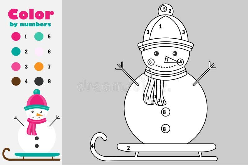 在动画片样式,由数字,圣诞节教育孩子的发展的,上色页,孩子纸比赛的颜色的雪人前 向量例证
