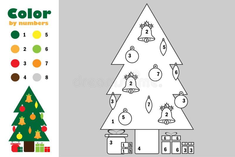 在动画片样式,由数字,圣诞节教育孩子的发展的,上色页,孩子p纸比赛的颜色的Xmas树 皇族释放例证
