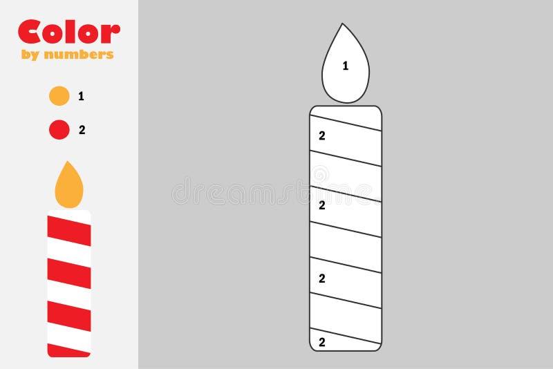 在动画片样式,由数字,圣诞节教育孩子的发展的,上色页,孩子pres纸比赛的颜色的蜡烛 皇族释放例证