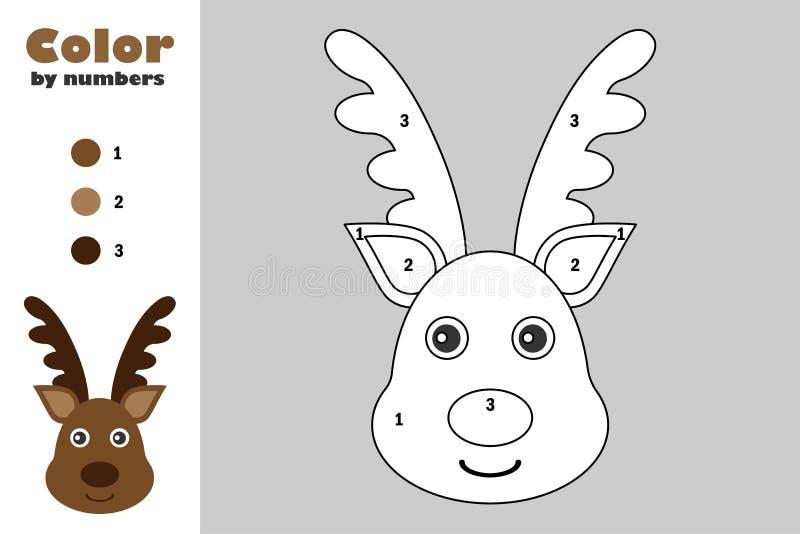 在动画片样式,由数字,圣诞节教育孩子的发展的,上色页,孩子presch纸比赛的颜色的鹿 皇族释放例证