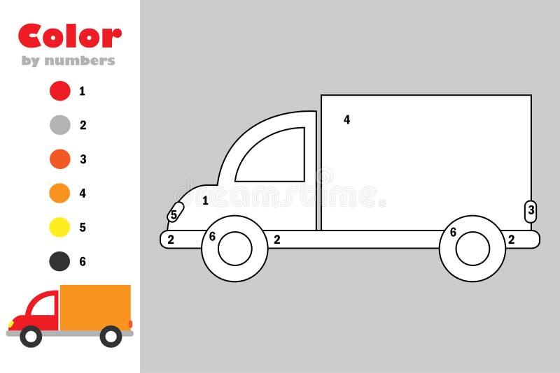 在动画片样式,由数字,教育孩子的发展的,上色页,孩子幼儿园纸比赛的颜色的卡车 向量例证