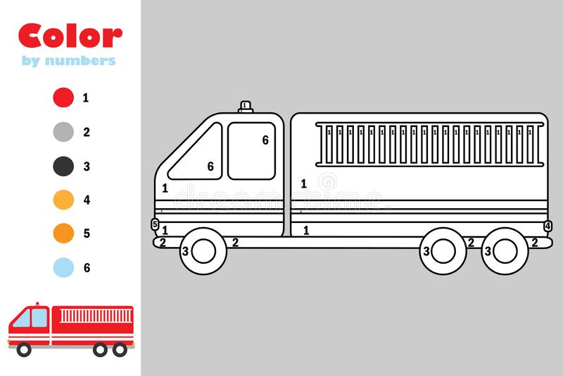在动画片样式,由数字,教育孩子的发展的,上色页,孩子幼儿园纸比赛的颜色的消防车 向量例证