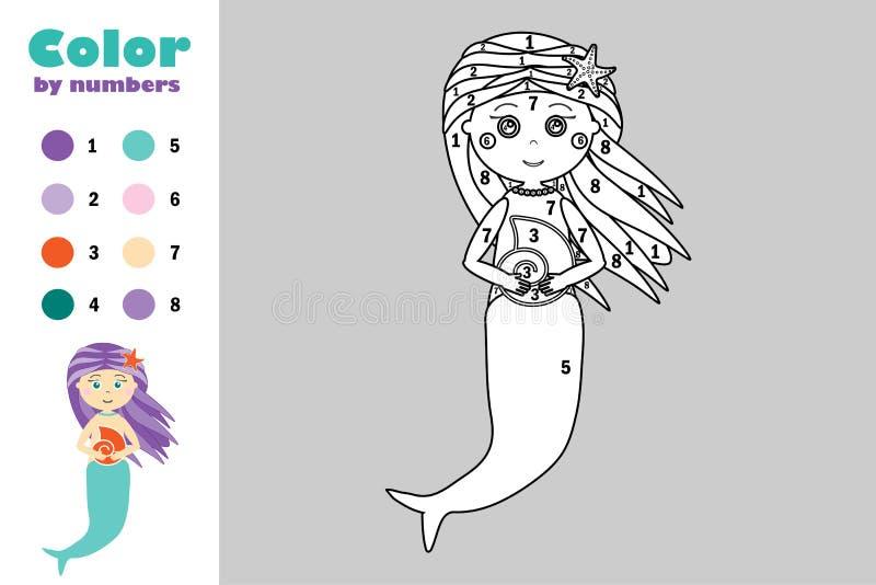 在动画片样式,由数字,教育孩子的发展的,上色页,孩子幼儿园纸比赛的颜色的美人鱼 皇族释放例证