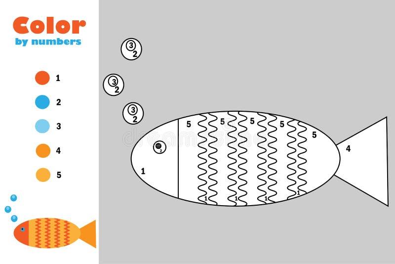 在动画片样式,由数字,教育孩子的发展的,上色页,孩子幼儿园纸比赛的颜色的鱼 皇族释放例证