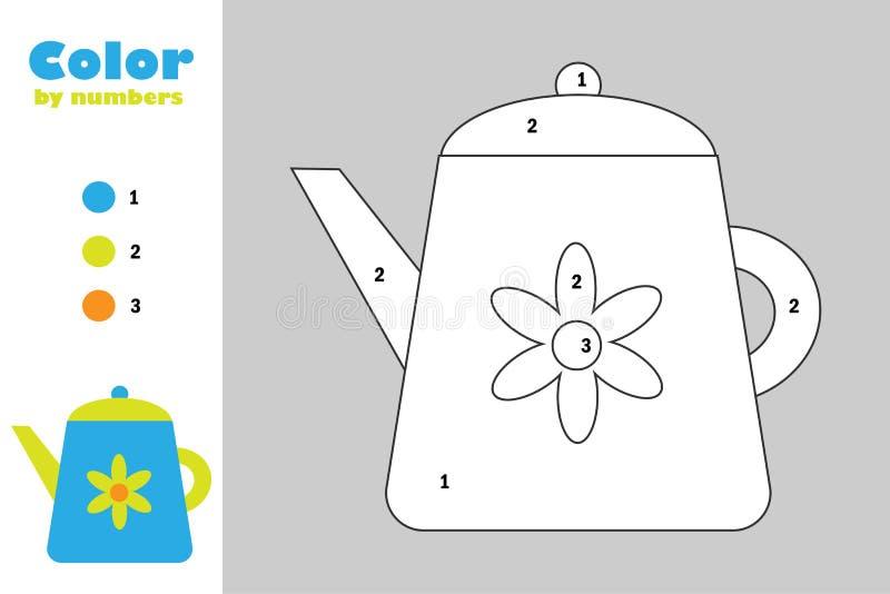 在动画片样式,由数字,教育孩子的发展的,上色页,孩子纸比赛的颜色的水壶 库存例证