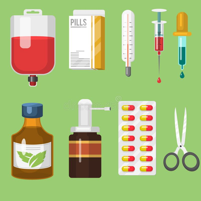 在动画片的医疗仪器和医生工具药剂称呼疗程医院健康治疗传染媒介 向量例证