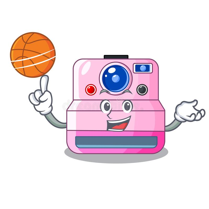 在动画片的篮球逗人喜爱的减速火箭的快速照相机 皇族释放例证