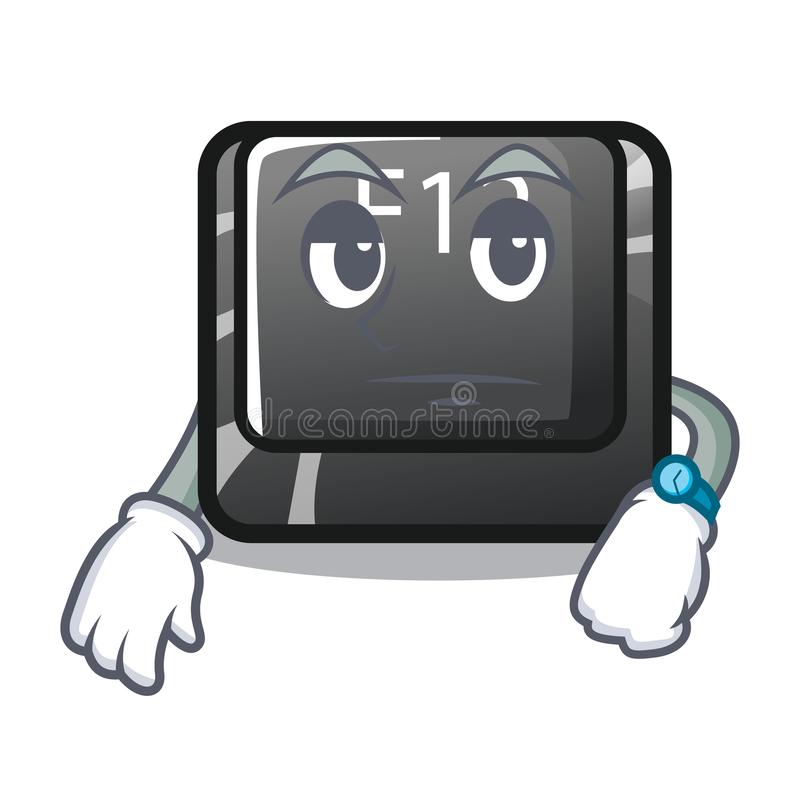 在动画片计算机安装的等待的f12按钮 向量例证