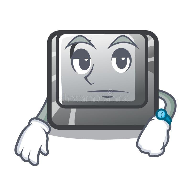 在动画片计算机C安装的等待的按钮 库存例证