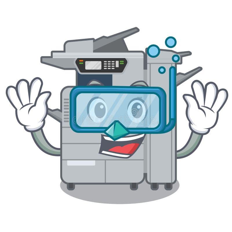 在动画片隔绝的潜水的影印机机器 库存例证