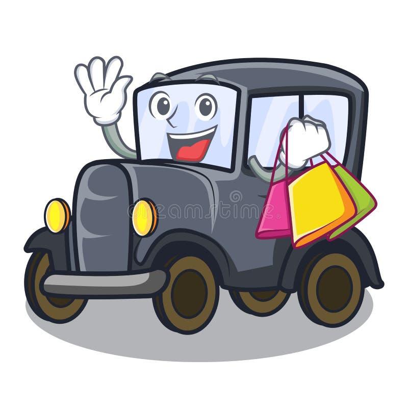 在动画片隔绝的购物的老汽车 皇族释放例证