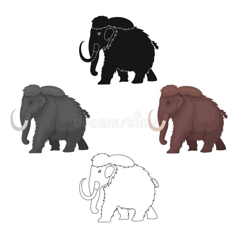 在动画片,黑样式的声势浩大的象隔绝在白色背景 恐龙和史前标志股票传染媒介 库存例证