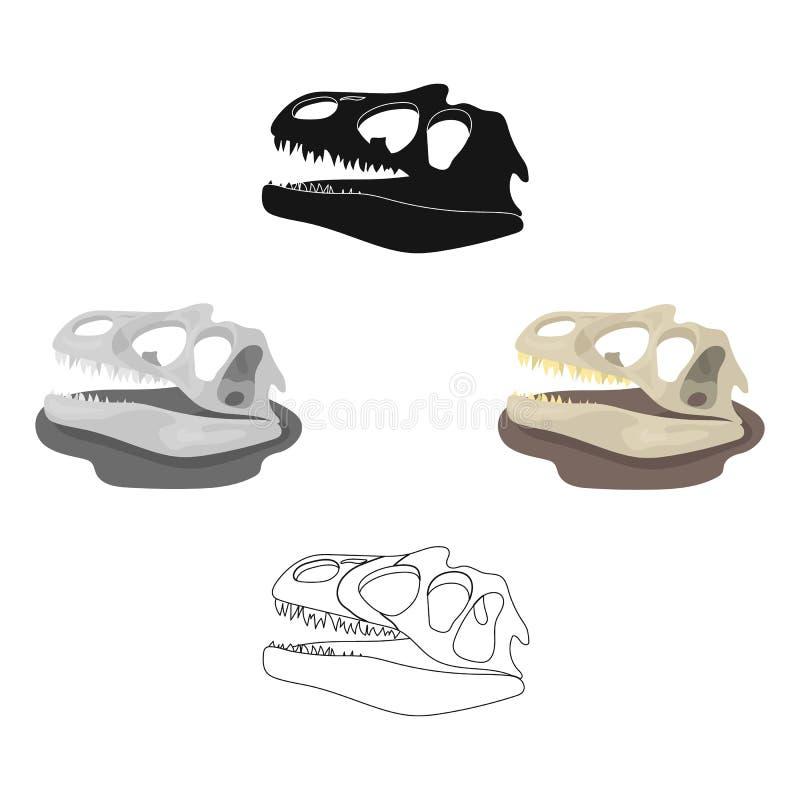 在动画片,黑样式的恐龙化石象隔绝在白色背景 恐龙和史前标志股票传染媒介 向量例证