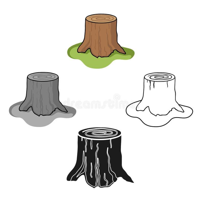 在动画片,黑样式的树桩象隔绝在白色背景 锯木厂和木材标志股票传染媒介例证 向量例证