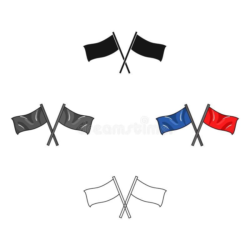 在动画片,黑样式的红色和蓝旗信号象隔绝在白色背景 迷彩漆弹运动标志股票传染媒介例证 皇族释放例证