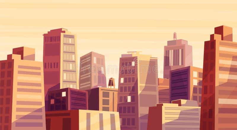 在动画片城市的传染媒介美好的日落 库存例证