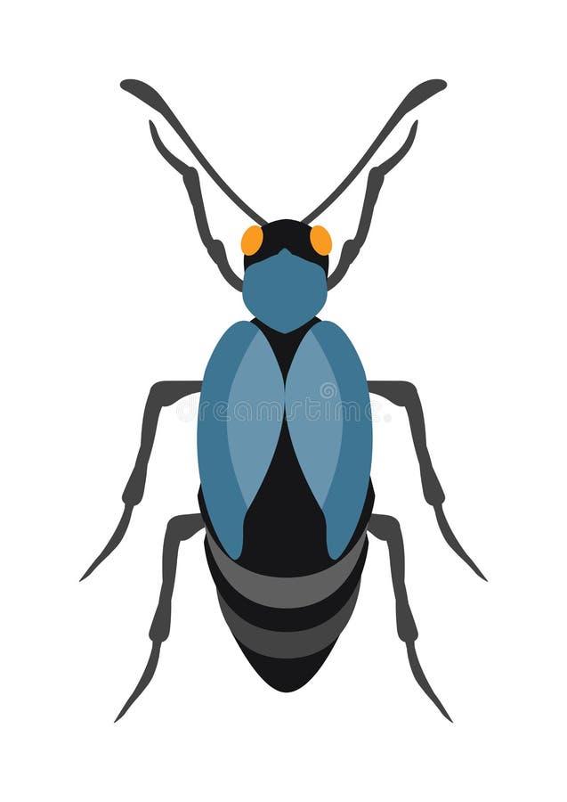 在动画片样式传染媒介的甲虫平的昆虫臭虫 库存例证