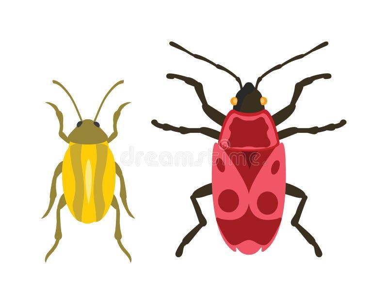 在动画片样式传染媒介的甲虫平的昆虫臭虫 皇族释放例证