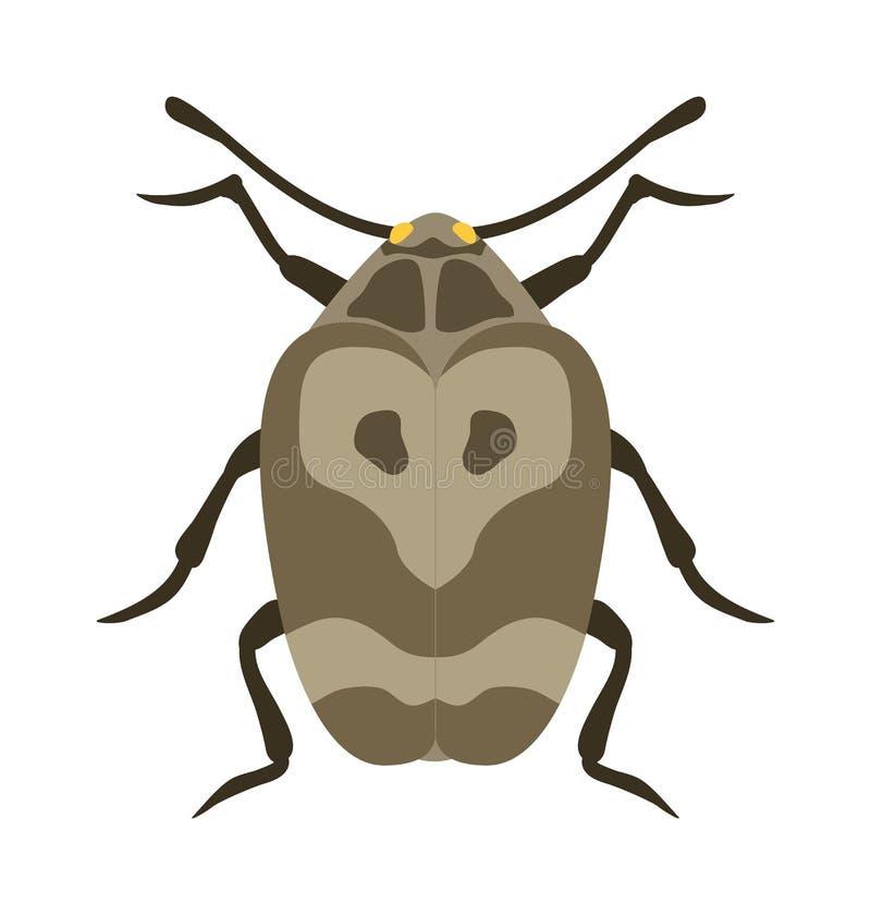 在动画片样式传染媒介的甲虫平的昆虫臭虫 向量例证