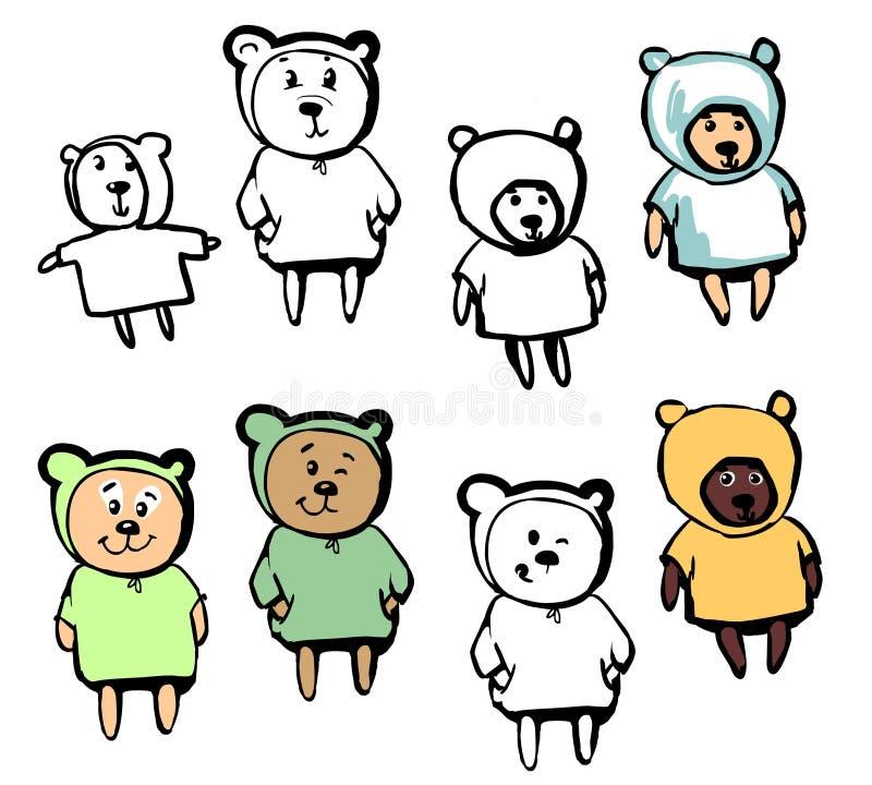 在动画片样式的可爱的熊 免版税图库摄影