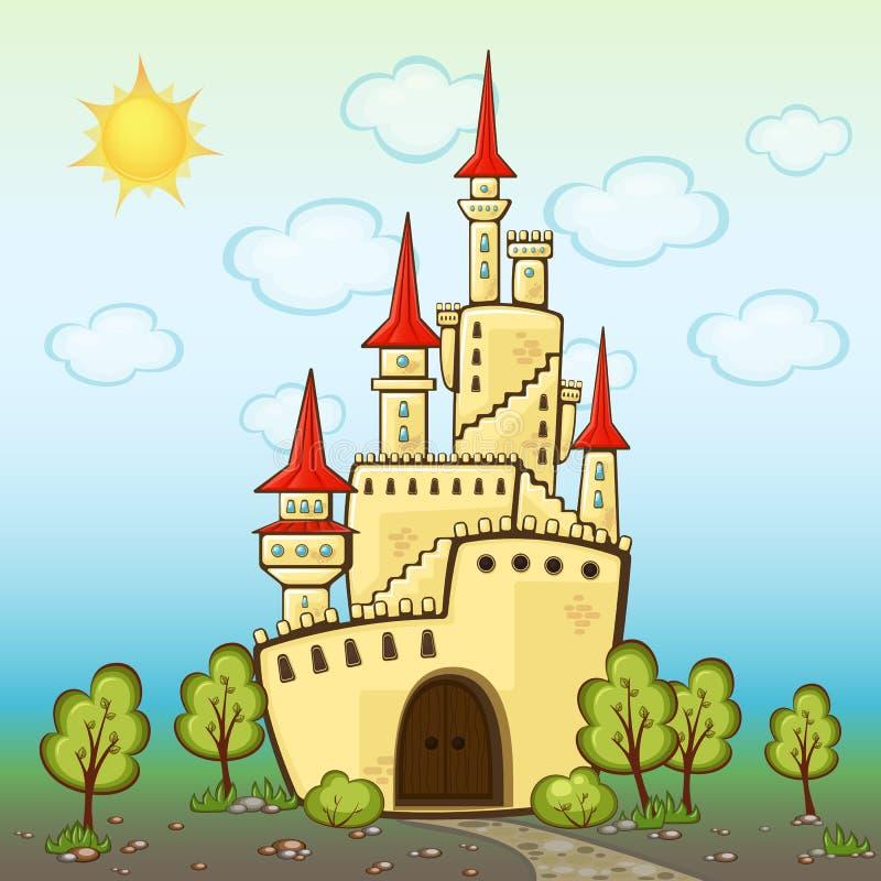 在动画片样式的城堡 向量例证