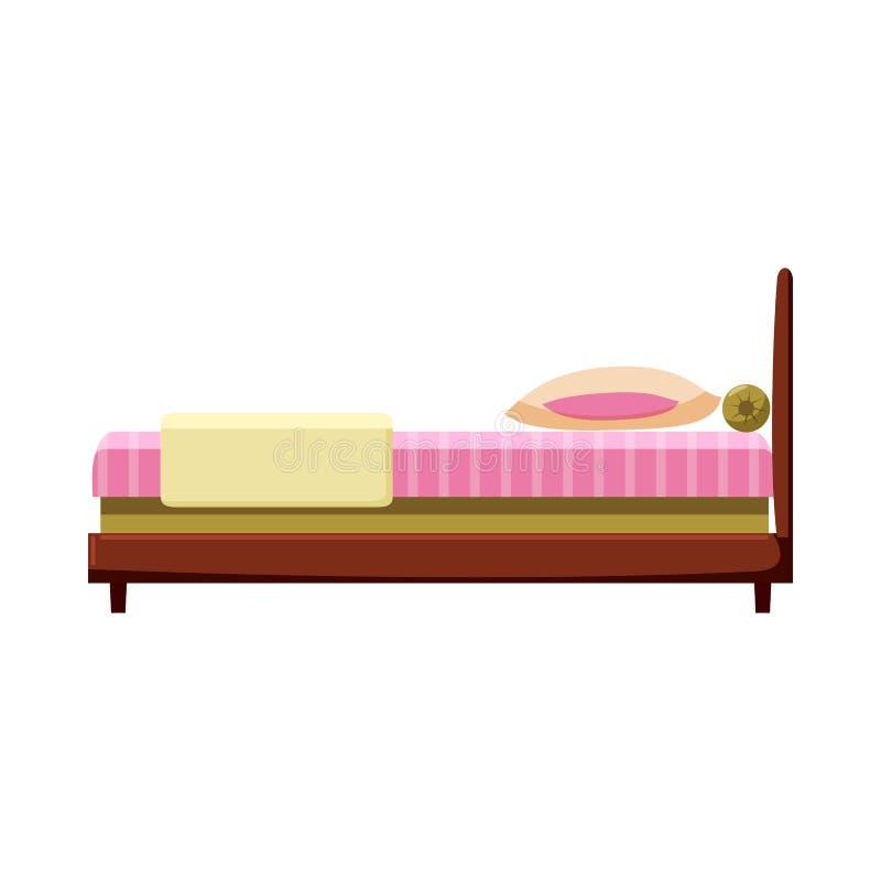 在动画片样式的床象 向量例证