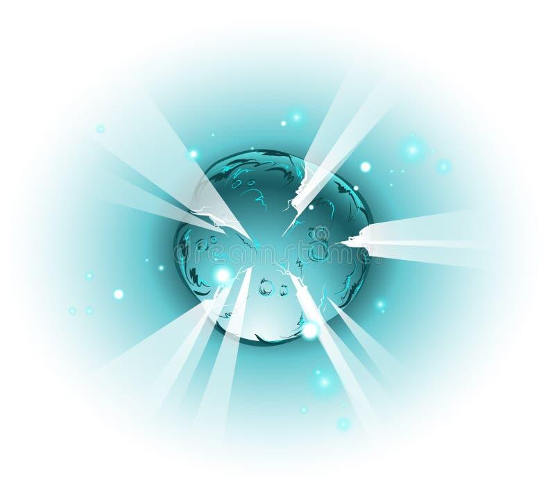 在动画片样式的爆炸的航天机构 皇族释放例证