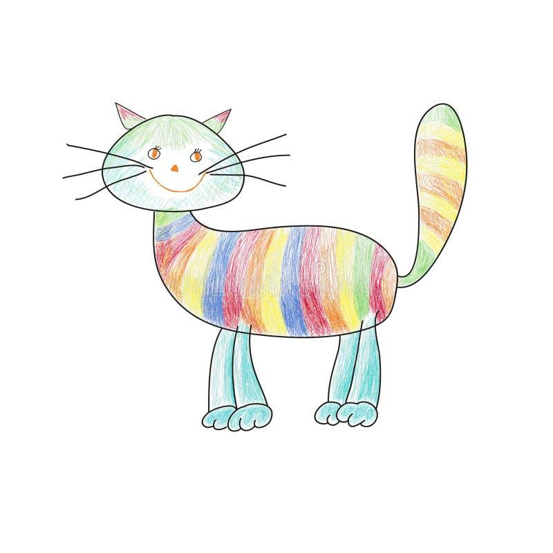 在动画片样式的虎斑猫 免版税库存照片