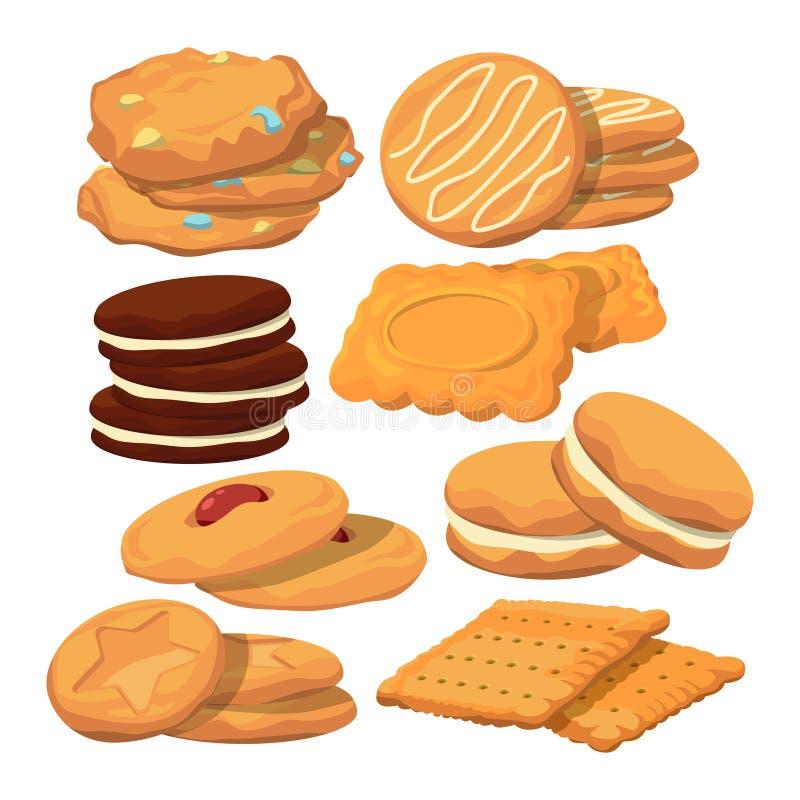 在动画片样式的装饰的曲奇饼 传染媒介烘烤在白色的例证孤立 皇族释放例证