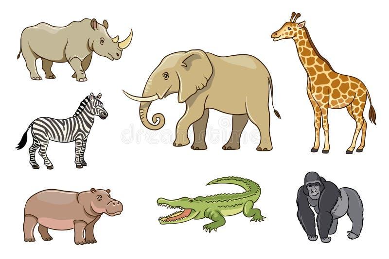 在动画片样式的非洲动物 库存例证