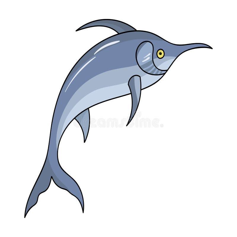 细索在动画片样式的鱼象在白色背景 海洋动物标志股票传染媒介例证 向量例证