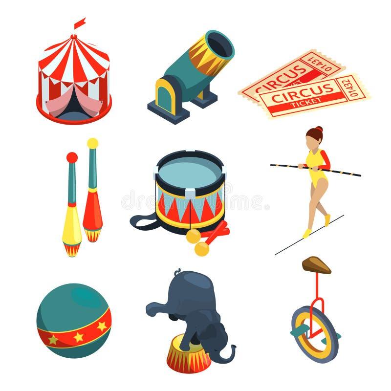 在动画片样式的滑稽的马戏例证 狮子教练员,玩杂耍球的小丑 被设置的传染媒介图片 向量例证
