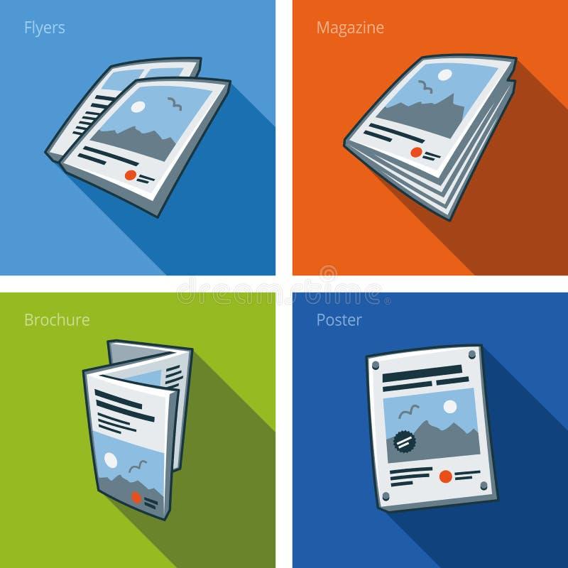 在动画片样式设置的打印输出象 库存例证