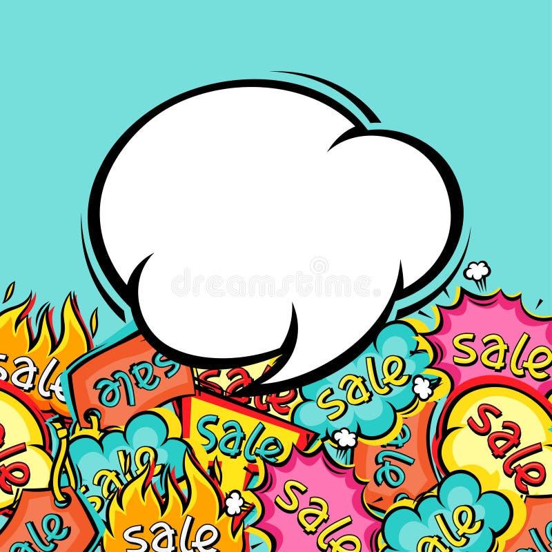 在动画片的销售可笑的讲话泡影背景 库存例证