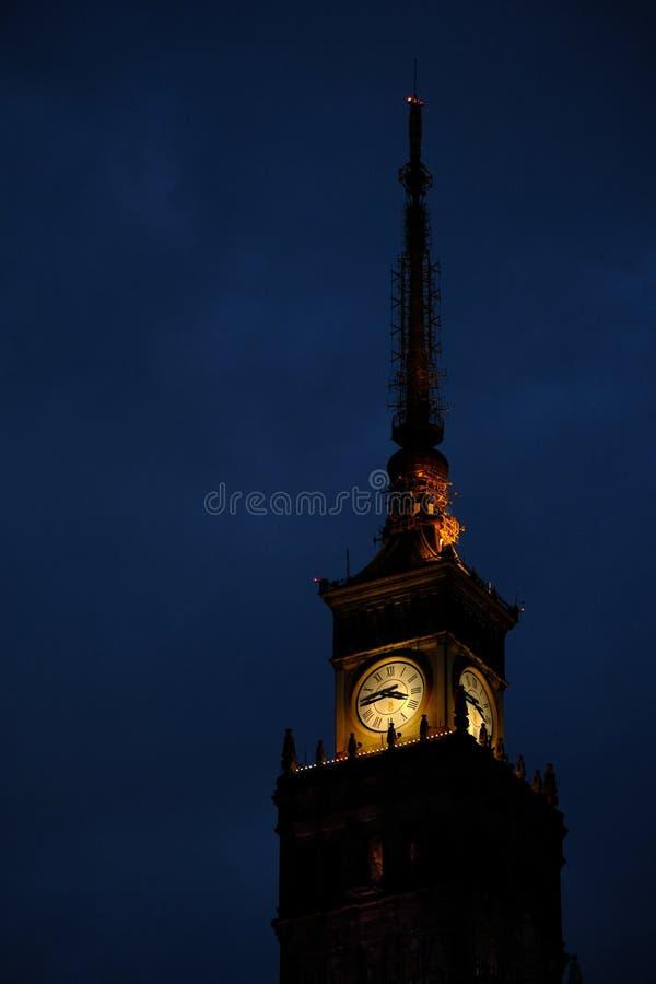 在劳动人民文化宫和科学的时钟 库存图片